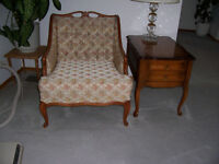 PROVINCIAL STYLE CHAIR AND FOOTSTOOL