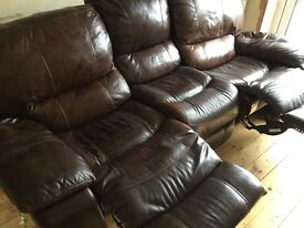 3 seater reclining brown / tan leather sofa / couch