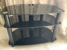 John Lewis Black Glass TV Corner Stand Unit