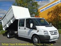 2009 59 Ford Transit 115 T460L D/Cab Refuge Tipper Wheelie-Bin Lift Low Mileage
