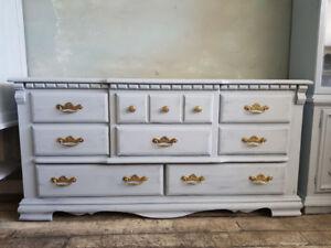 Pale Grey Dresser - 8 Drawers