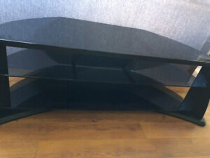Black Glass and Wood TV stand