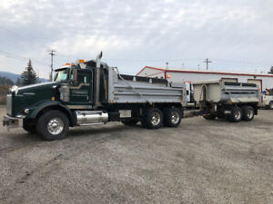 2014 Kenworth  Gravel Truck with 2014  Langfab Tandem Pup