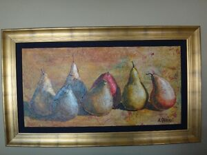 NEW PRICE, Framed Original Pear Painting by Alicia Quaini