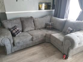 Grey corner sofa plus chair