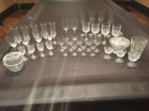 Assorted Chrystal Lead Glassware + Bowls (38 PIECES)