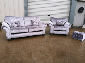Crushed velvet 3 +1 seater sofas couches suite 🚚🚚