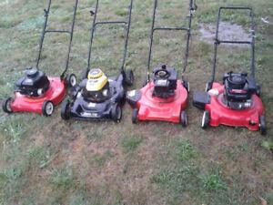 4 push mowers.