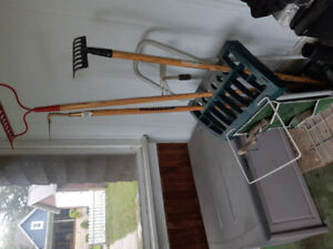 Free deck box and gardening trolley with garden tools