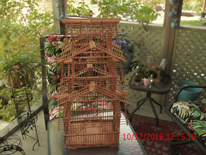 *PRICEDROP*GENUINE VINTAGE TALL BAMBOO BIRD CAGE