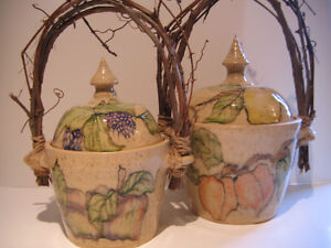 PAIR OF FRUIT THEMED ONTARIO POTTERY CANISTERS