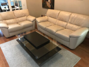 Leather living room set with table