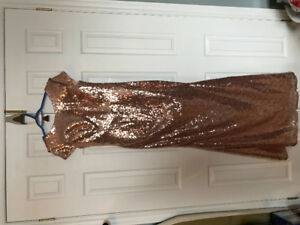 L@@K Rose Gold Sequin Long Sparkly Bridesmaid Prom Dress NEW