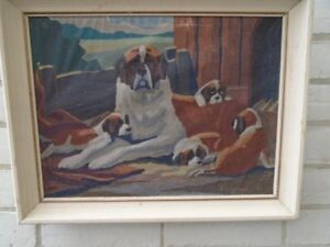 Saint Bernard Dogs    Original Paint by Numbers Art
