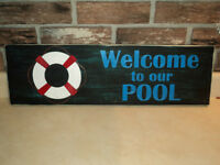 SALE Hand Painted Pool Wood Sign With Hanger