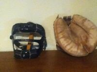 1950 catchers mask and glove