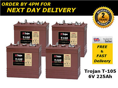 4 x T105 Battery - 6V Deep Cycle - Trojan