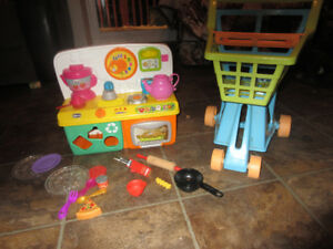 playkitchen and grocery cart