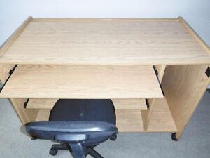 Computer Desk Workstation on Casters, Delivered
