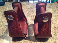 Billy Cook Stirrups, Tooled with Silver