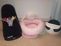 Baby Bjorn bouncer, sit up bunny and mamma and pappas bumbo