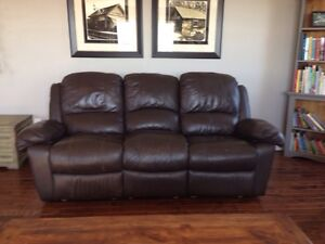 Brown Leather Couch with Recliners