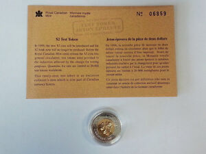 1996 Canada two dollar test token with COA