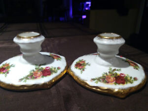 Old Country Roses Candlestick Holders