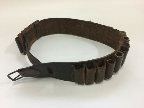 U1095 Japanese Leather Belt Vintage Army Soldier Bullet Storage Interior