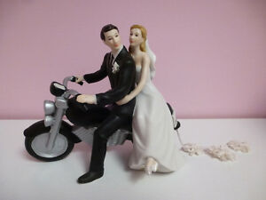 Bride and Groom on Motorcyle Cake Topper