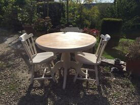 Solid pine farmhouse shabby chic cream table and chairs