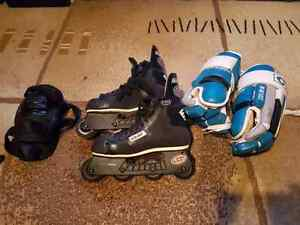 Rollerblades Size 9 , Hockey Gloves, Knee Pads
