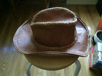 Brown artisanal leather hat
