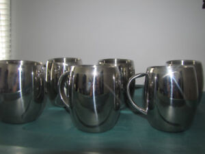 6  BRAND NEW STAINLESS INSULATED BEER MUGS