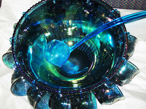 ANTIQUE INDIANA CARNIVAL GLASS PUNCH BOWL
