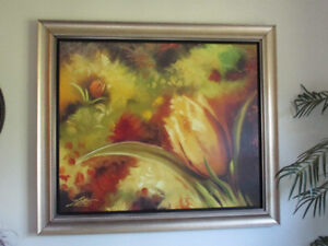 Large Framed Artwork painting, gold frame, many colors