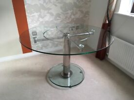 Glass table with 'lazy susan'