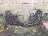 Pair of Victorian wrought iron bench ends