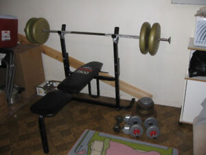 BENCH PRESS +SQUAT RACK+2 barres+4 dumpbells+270LB de poids