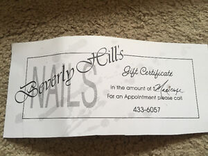 Gift certificate to get a manicure