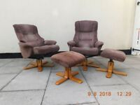 Matching swivel reclining chairs