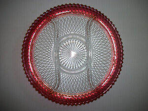 Vintage Ruby Red Diamond Point Cut Glass Tray
