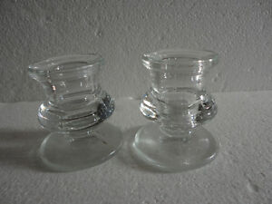 Set of 2 glass candlestick holders brand new London Ontario image 1