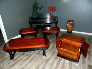 4 Piece, Professionally Restored Vintage Solid Oak Furnishings