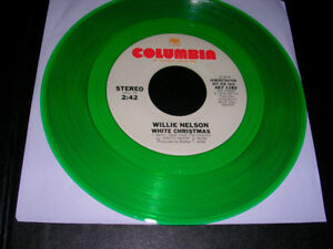 "Record. ""Rare"" Willie Nelson ""Christmas Green Vinyl Demo"" 45."