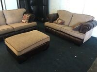 Ex SCS Chesterfield brown beige pattern fabric 3 plus 3 seater sofa and foot stool three leather