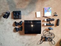 50GB PS3 with playstation MOVE, 2 controllers, 2 playstation move controllers and more.