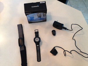 Garmin watch Forerunner 210 with GPS, charger and HRM strap