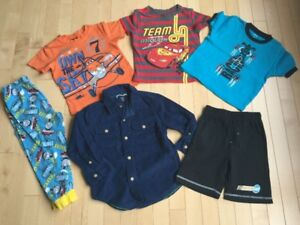Disney T shirt, Gap Dress shirt, Thomas the train short 3t