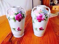 Pair of Vintage Hand Painted Japanese Vases